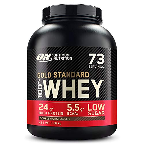 Optimum Nutrition Gold Standard Whey Muscle Building and Recovery Protein Powder with Glutamine and Amino Acids, Double Rich Chocolate, 74 Servings, 2.27 kg, Packaging May Vary from Optimum Nutrition