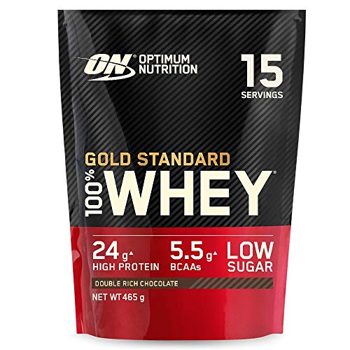 Optimum Nutrition Gold Standard Whey Protein, Muscle Building Powder With Naturally Occurring Glutamine and Amino Acids, Double Rich Chocolate, 15 Servings, 465 g, Packaging May Vary from Optimum Nutrition
