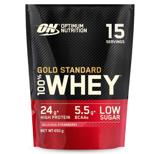 Optimum Nutrition Gold Standard Whey Protein, Muscle Building Powder With Naturally Occurring Glutamine and Amino Acids, Delicious Strawberry, 15 Servings, 450 g, Packaging May Vary from Optimum Nutrition