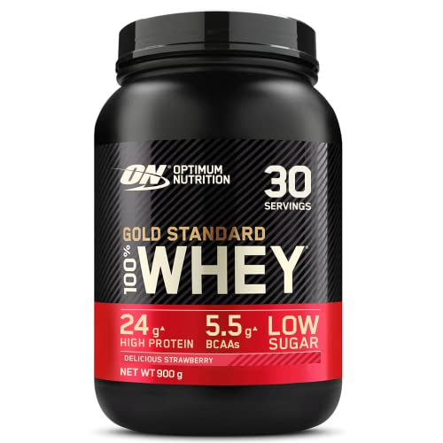 Optimum Nutrition Gold Standard Whey Protein Powder Muscle Building Supplements with Glutamine and Amino Acids, Delicious Strawberry, 30 Servings, 900 g, Packaging May Vary from Optimum Nutrition