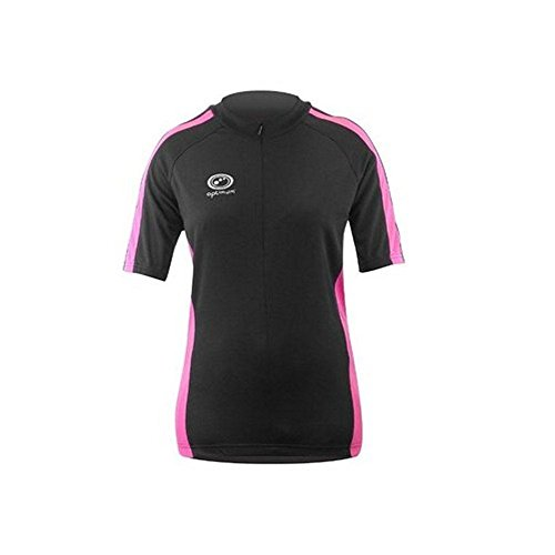 Optimum Women's Nitebrite Cycling Short Sleeve Jersey, Black/Pink, Size 12 from Optimum