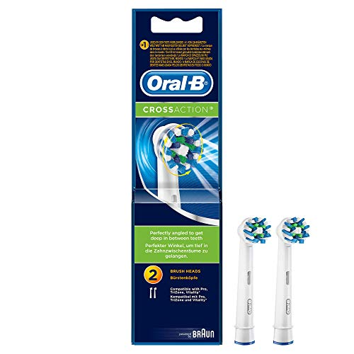 Oral-B Genuine CrossAction Toothbrush Heads Replacement Refills for Electric Rechargeable Toothbrush, Professionally Inspired Round Head Design to Clean Tooth-By-Tooth, Pack of 2 from Oral-B