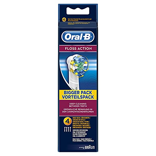 Oral-B FlossAction Replacement White Toothbrush Heads, Refills for Electric Toothbrush, MicroPulse Bristles for Deep Cleaning Between Teeth, Pack of 4 from Oral-B