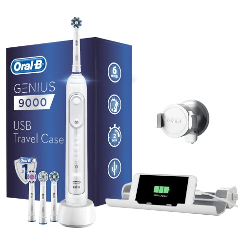 Oral-B Genius 9000 Electric Toothbrush, 1 White App Connected Handle, 6 Modes, Pressure Sensor, 4 Toothbrush Heads, USB Travel Case, 2 Pin UK Plug, Gift for Men/Women from Oral-B