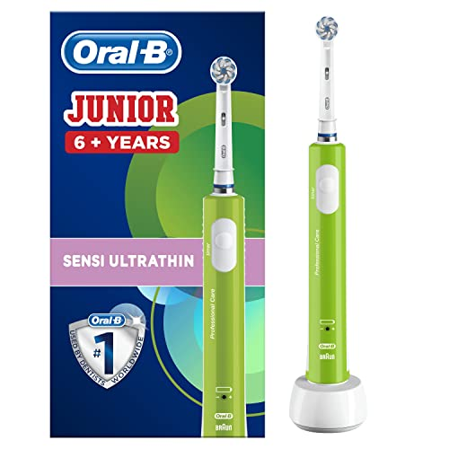 Oral-B Junior Electric Rechargeable Toothbrush Powered by Braun, Ages 6+ - Green (UK 2-Pin Bathroom Plug) from Oral-B