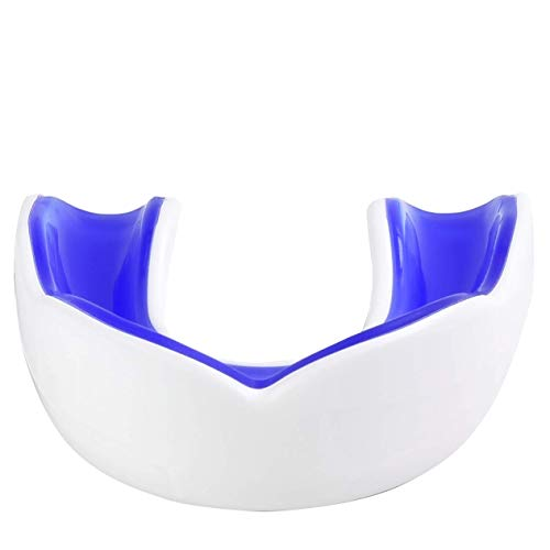 Oral Mart White/Blue Adult Gum Shield - Sports Mouth Guard for Karate, Boxing, Martial Arts, Football, MMA, Sparring, Hockey, Rugby, BJJ, Muay Thai,Soccer from Oral Mart