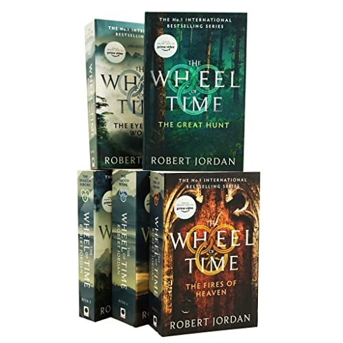 Robert Jordan The Wheel of Time Collection, Set includes Books 1-5, The Eye of the World, The Great Hunt, The Dragon Reborn, The Shadow Rising & The Fires of Heaven from Orbit