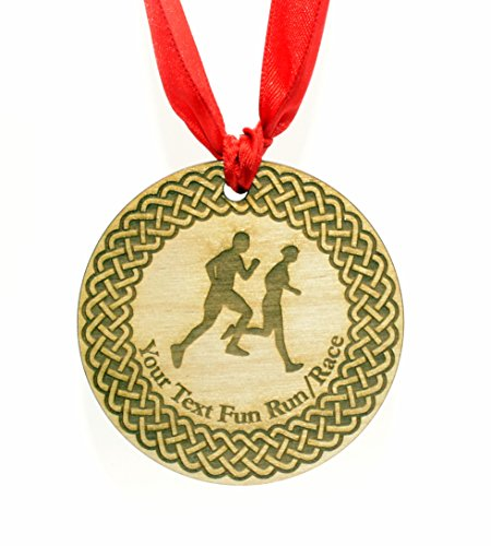 Personalised 7 cm Diameter Running Medal with Red Ribbon from Origin