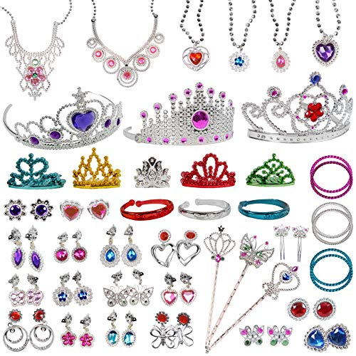 Original Color Jewelry Toy,62 Pieces Princess Pretend Jewelry Toy Playset,Assorted Jewelry Dress Up Toy Rings,Earrings,Necklaces,Crowns,Bracelets,Wands for Girls Birthday Gift,Princess Party Favor from Original Color