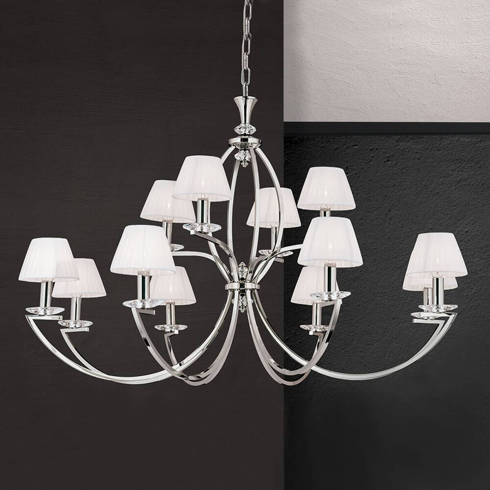 Avala - magnificent chandelier in nickel and white from Orion