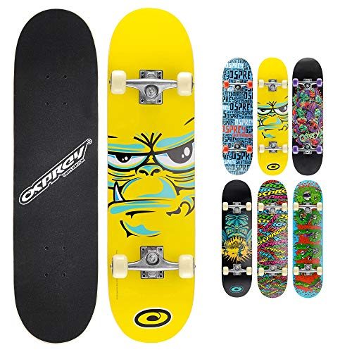 "Osprey Complete 31"" Kids Double Kick Skateboard, Beginner Trick Board with Chinese Maple Deck and PU Wheels, Boys Girls, Multiple Designs from Osprey"
