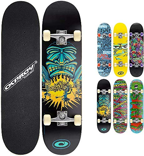 Osprey Complete Beginners Double Kick Trick Skateboard, 31 x 8 Inches Maple Deck - Savages from Osprey