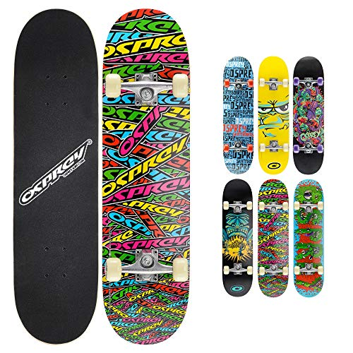 Osprey Complete Beginners Double Kick Trick Skateboard, 31 x 8 Inches Maple Deck - Stickers from Osprey