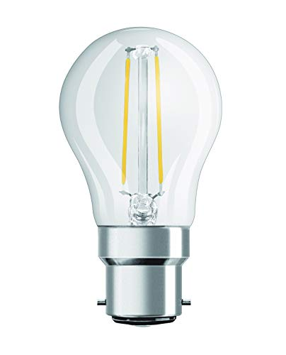 OSRAM 4052899961944 Clear Warm Mini Ball Shape Retro Design Filament Style LED Retrofit Classic P Lamp with Bayonet Base, Glass/Plastic, White, B22d, 2.10 W, 2700 k from Osram