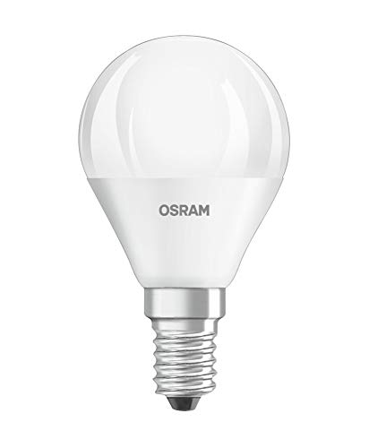 Osram LED Star Classic P/LED Lamp, Classic Mini Ball Shape, with Screw Base: E14, 5 W, 220 to 240 V, 40 W Replacement, Frosted, Cool White, 4000 K, Pack of 1 from Osram