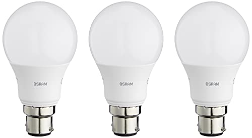 OSRAM LED BASE CLASSIC A / LED lamp, classic bulb shape, with bayonet base: B22d, 9.50 W, 220...240 V, 60 W replacement, frosted, 2700 K, 3pack from Osram