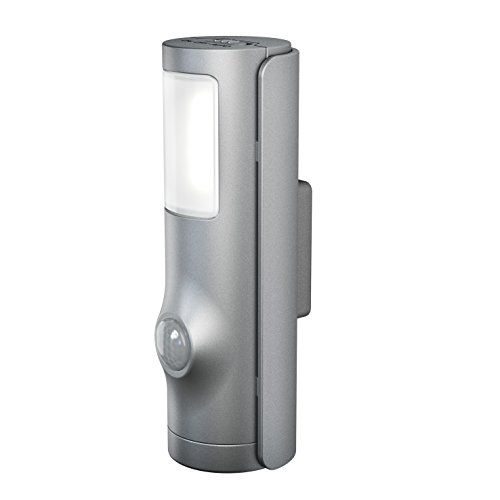 OSRAM LED Luminaire/Nightlux Torch/Silver/Battery-Operated and Detachable/Integrated Motion Sensor/Day-Night-Sensor/IP54/Cold White-4000K, 0.4 W, Cold White from Osram