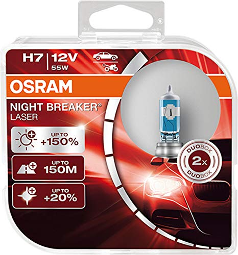 OSRAM NIGHT BREAKER LASER H7, next generation, 150% more brightness, halogen headlamp, 64210NL-HCB, 12V, passenger car, duo box (2 lamps) from OSRAM