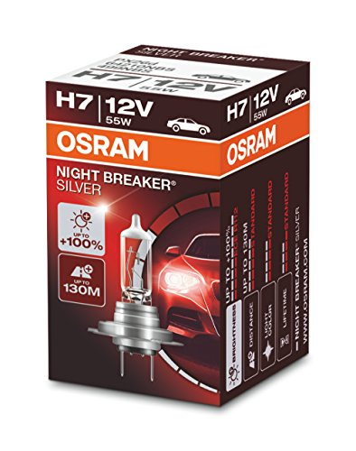 OSRAM NIGHT BREAKER SILVER H7, +100% more brightness, halogen headlamp, 64210NBS, 12V, passenger car, folding box (1 lamp) from OSRAM