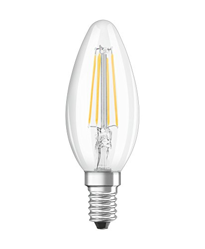 Osram LED Retrofit Classic B/LED Lamp, Classic Mini Candle Shape: E14, 220 to 240 V, 2700 K, Clear, Warm White, 4 W, 40 W Replacement, Pack of 1 from Osram