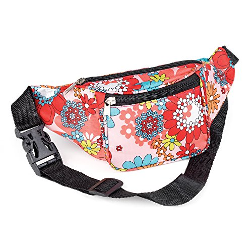 Multicoloured Pink Flower Power Print Bum Bag Fanny Pack Festivals Holiday Wear from Other