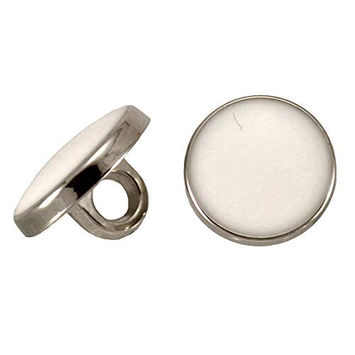 SILVER RIM WHITE CENTRE DRESS SHIRT SHANK BUTTON 10mm (06) from Other