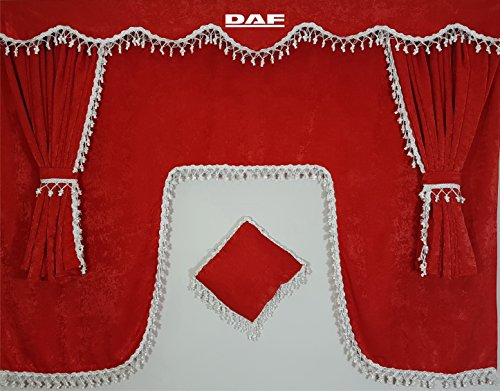 Set of 5 Pieces Red Curtains with White Tassels UNIVERSAL SIZE All Truck Models Cabin Accessories Decoration Plush Fabric from Other