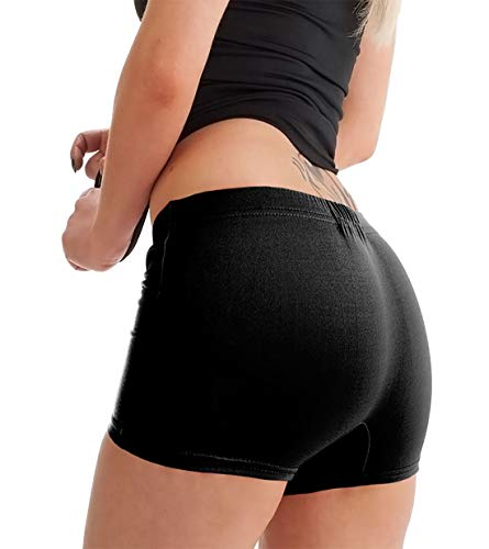 WOMENS LADIES GIRL MICROFIBER HOT PANTS KNICKER LYCRA DANCE SHORTS GYM SEXY NEON[Black ,S/M] from Generic