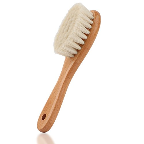 Baby Hair Brush with Wooden Handle and Super Soft Goat Bristles (burlywood) from oudrlim