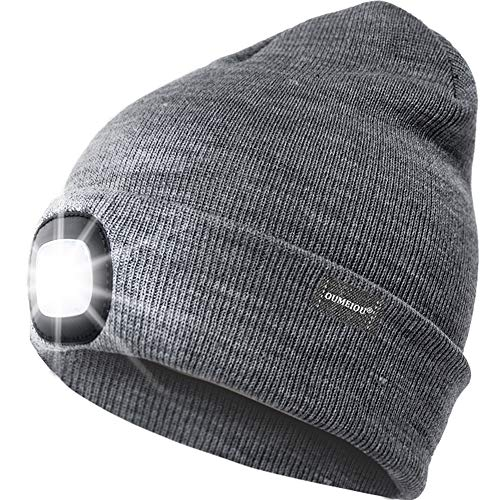 Oumeiou Grey New Warm Bright LED Lighted Beanie Cap Unisex Rechargeable Headlamp Hat Multi-Color (Gray), One Size from Oumeiou
