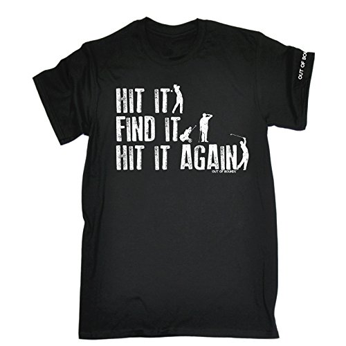 Golf Golfing Sports Fashion - HIT IT FIND Again (L Black) New Premium Loose FIT Baggy T-Shirt Slogan Funny Clothing Joke Novelty Vintage Retro t Men's Shirt Tee Tshirt Mens Birthday Presents Graphic from 123t