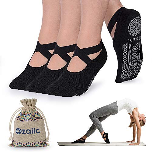 Ozaiic Yoga Socks for Women Non-Slip Grips & Straps, Ideal for Pilates, Pure Barre, Ballet, Dance, Barefoot Workout from Ozaiic