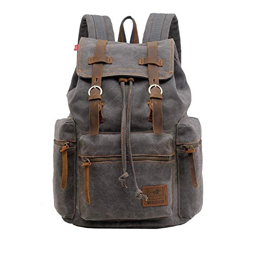 Canvas Backpack, P.KU.VDSL Canvas Leather Laptop Rucksack Shoulder Satchel Bookbag, Casual Daypack Knapsack for School Hiking Traveling Men Women from P.KU.VDSL®