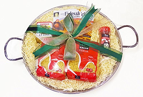 Luxury Fideua Gift Set for 6-8 Servings (38cm Pan) Non Stick Steel Paella Pan from PAELLA