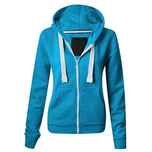 Ladies Plain Zip Up Hoodie Womens Fleece Hooded Top Long Sleeves Front Pockets Soft Stretchable Comfortable PLUS SIZES Small to XXXXXXXL (UK 6-30) from PARSA FASHIONS