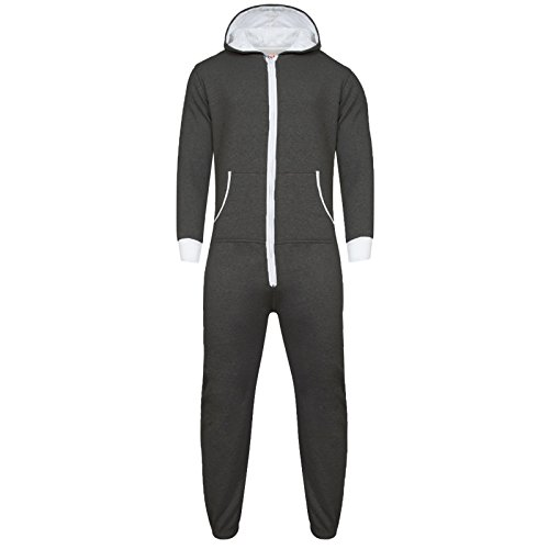 Parsa Fashions ® Womens Plain Zipper Onesie Ladies Onepiece All in One Hooded Zip Up Overall Jumpsuit Playsuit S-XL 8-16 (XXXXXL, Charcoal - White) from Parsa Fashions