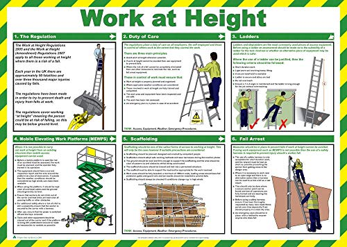 FIRST AID LAMINATED HEALTH & SAFETY POSTERS A2 LANDSCAPE DURABLE HAZARD SIGN - WORK AT HEIGHT from PDL