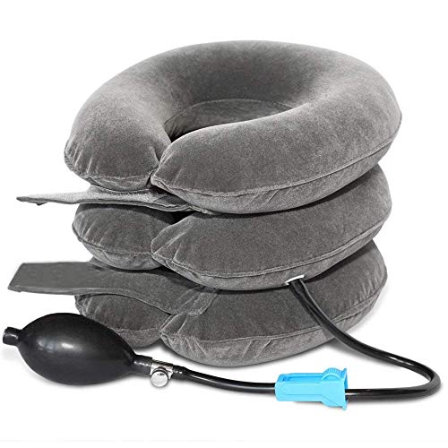 TEEROVA Cervical Neck Traction Collar Device Inflatable Spine Alignment Pillow Instant Pain Relief for Chronic Neck and Shoulder Pain (Gray) from TEEROVA