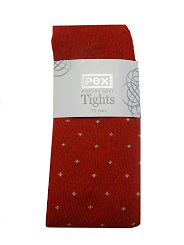 Girls Red or Navy Polka Dot Ribbon Bow Cotton Rich Pex Tights 6 Months-9 Years