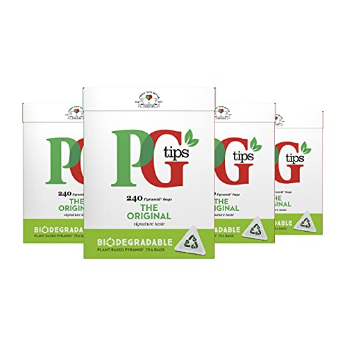 PG Tips Black Tea Pyramid Teabags (Pack of 4, Total 960 Teabags) from PG Tips