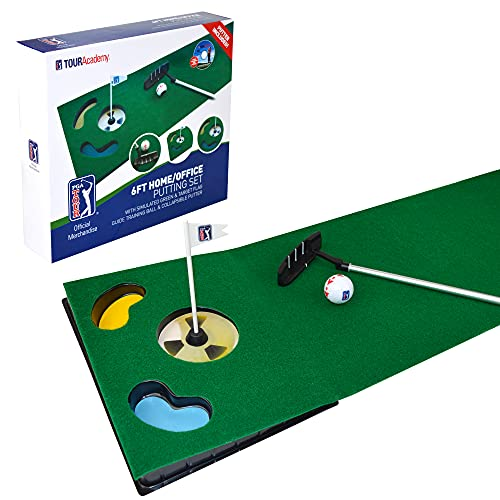 PGA Tour 6ft Putting Mat with Collapsible Putter & Alignment Guide Golf Ball from PGA Tour