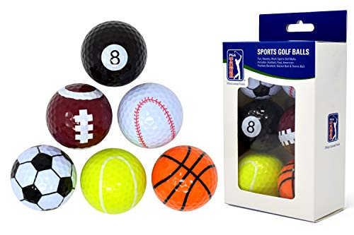 PGA Tour Novelty Fun Sports Golf Balls (Set of 6) from PGA