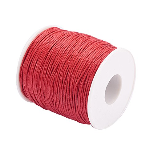 PandaHall 1mm 100 Yard/Roll Red Color Waxed Cotton Thread Cords for Jewellery Making, Knotds Making. from PandaHall