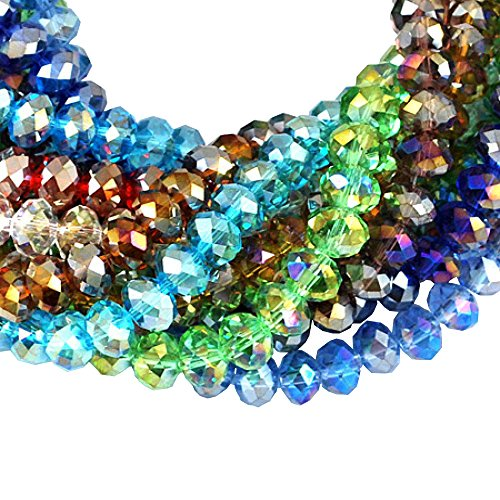 PandaHall 10 Strands Electroplate Glass Beads, Mixed Color, AB Color Plated, Faceted Abacus, 8mm in diameter, 6mm thick, hole: 1mm, about 72pcs/strand from PH PandaHall