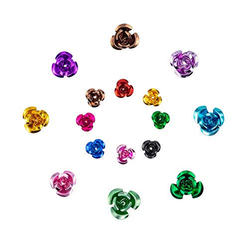PandaHall Elite 600 pcs Aluminum Rose Flower,Spacer Beads,Jewellery Making Charms, Mixed Color, 12-17x7-9mm, Hole: 1mm from PandaHall
