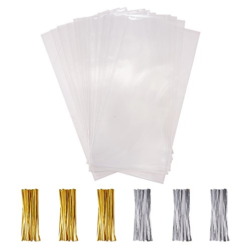 PandaHall Elite 100 pcs Rectangle OPP Cellophane Bags,With Plastic Iron Core Wire Twist Ties, Clear, 25x15cm from PandaHall