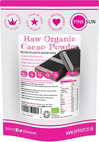 Raw Organic Cacao Powder 1kg (also available in 2kg 3kg or 500g) Unsweetened Drinking Chocolate, Natural Criollo Cocoa Sugar Free 1000g Bulk Buy, Peruvian Peru PINK SUN from PINK SUN