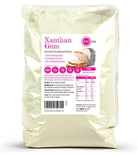 PINK SUN Xanthan Gum 250g Gluten Free Bread Making Baking and Thickening - Extra Fine Also Available 500g and 1kg from PINK SUN