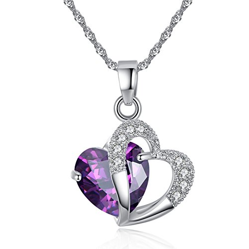 Sterling Silver Amethyst Purple Heart Crystal Pendant Necklace from PISSION