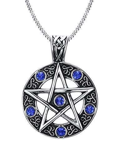 PJ JEWELRY Stainless Steel Vintage Celtic Gothic Star Pentagram Pentacle Pagan Wiccan Witch Necklace,Seal of Solomon Pendant from PJ JEWELRY